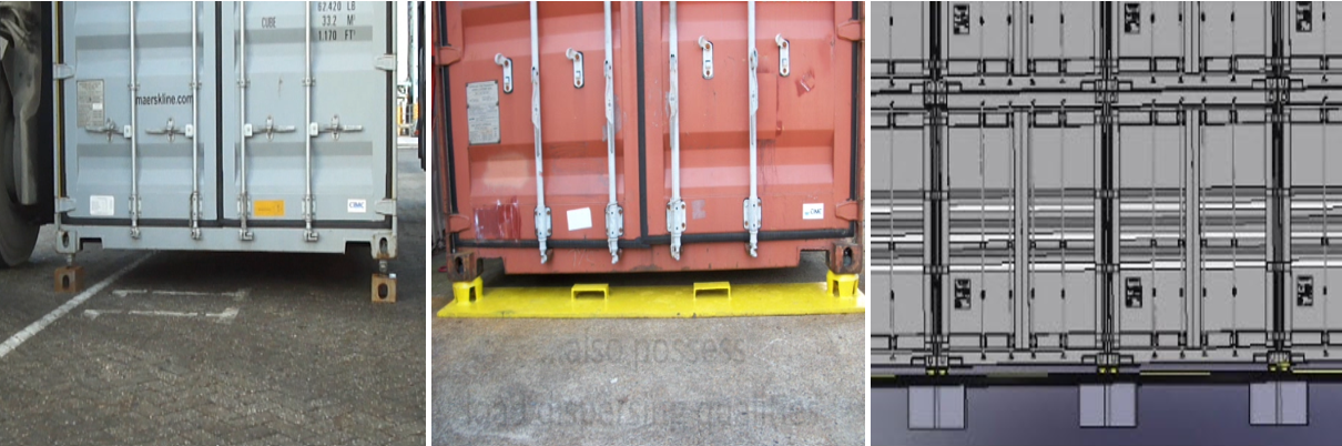 3 types of pads for storing UCLS equipped containers (type 1 – type 3 from left to right)